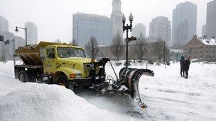 A snowplow clears a street near Quincy Market, in Boston. Massachusetts  27 January 2015