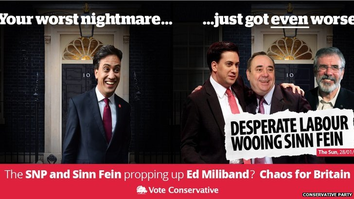 Conservative election poster showing Miliband, Salmond and Adams