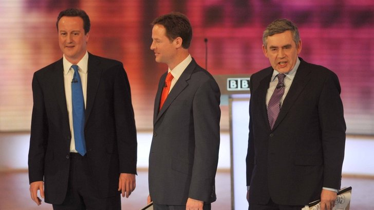 David Cameron, Nick Clegg and Gordon Brown in the 2010 leaders' debates