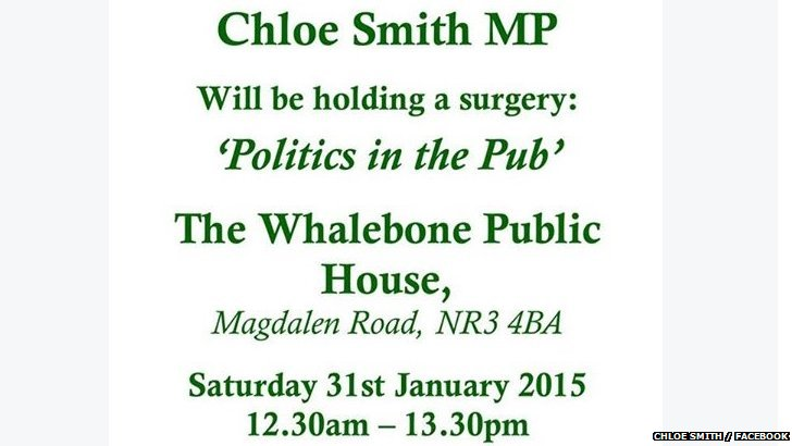 Chloe Smith's surgery flyer