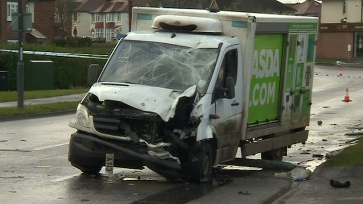 Smashed up Asda van