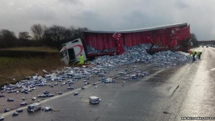 Lorry shed its load on M6