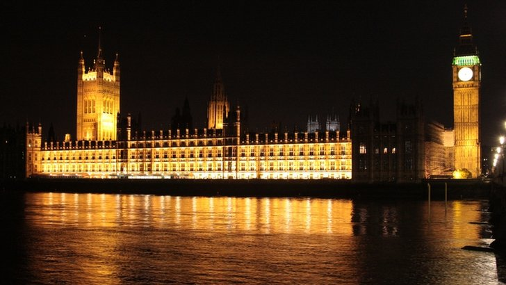 The Palace of Westminster at night