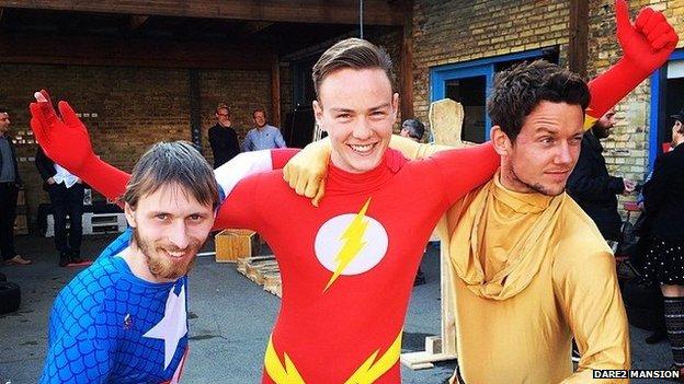 Benjamin Preisler Herbst and friends in superhero outfits
