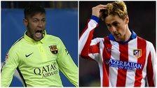 Neymar of Barcelona and Fernando Torres of Atletico Madrid