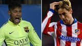 Neymar of Barcelona and Fernando Torres of Atletico Madrid