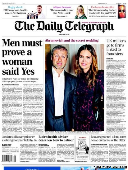 Tomorrow's Telegraph front page