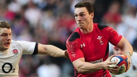 George North on the attack for Wales against England
