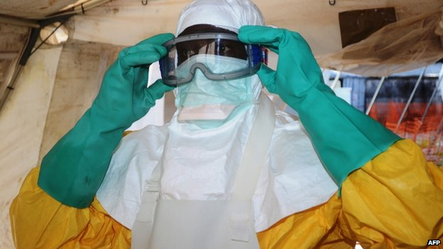 Member of MSF at isolation ward in Conakry, Guinea. 29 June 2014