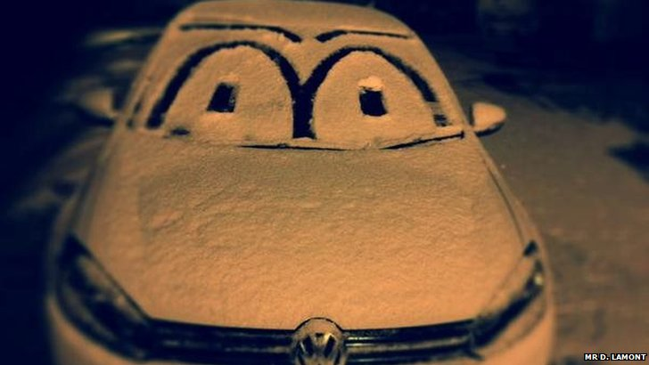 Snowy car on twitter