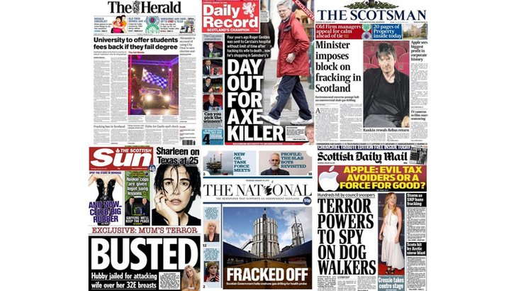 Scotland's newspapers frontpages