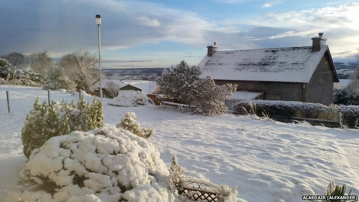 Snow in a garden in Inverness