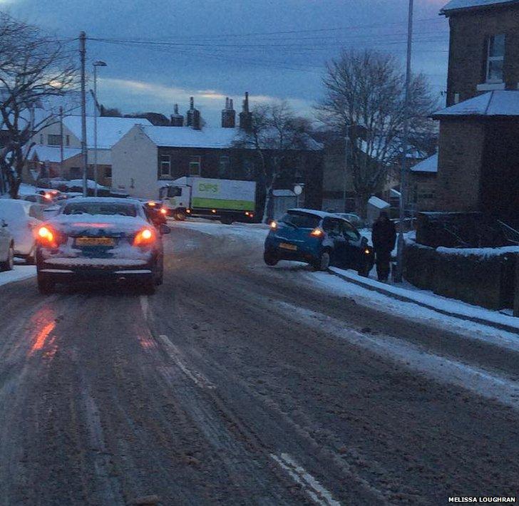 Snowy road in Baildon