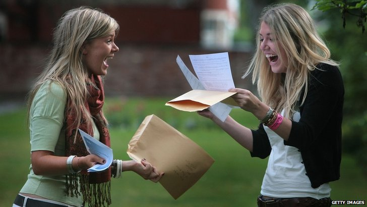 Pupils receive exam results