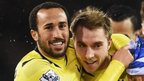 Andros Townsend and Christian Eriksen celebrate