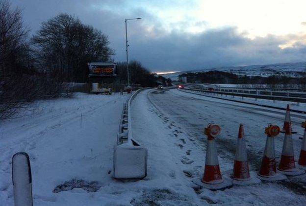 Closed snow gates on the A66, Cumbria