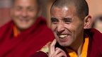Tibetan monk smiling