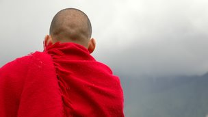 The back of a monk in a red robe