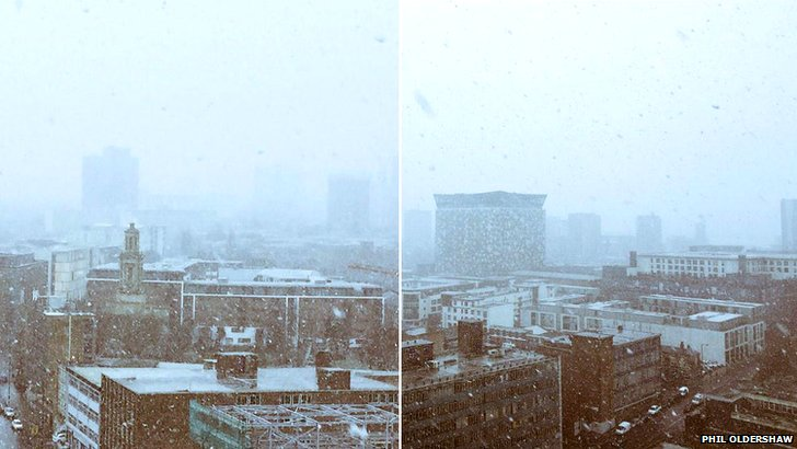 Snow in Birmingham city centre