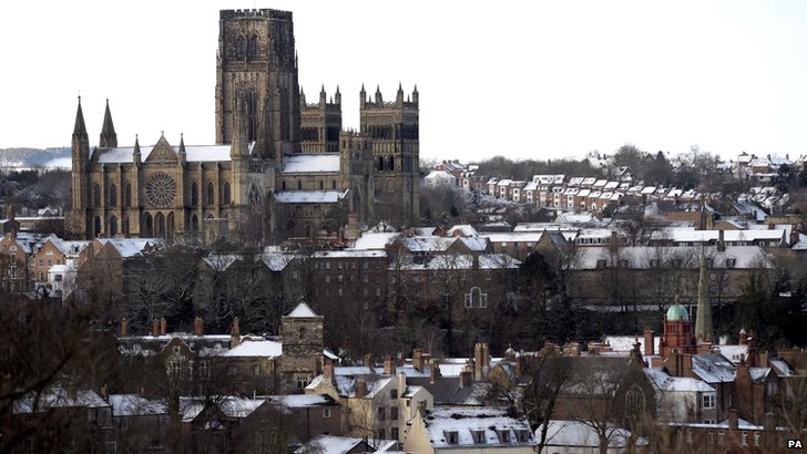 Durham Cathedral in snow