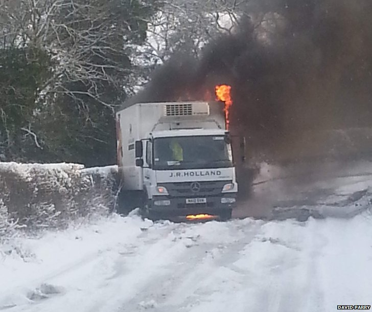 Truck on fire in Hunwick, County Durham