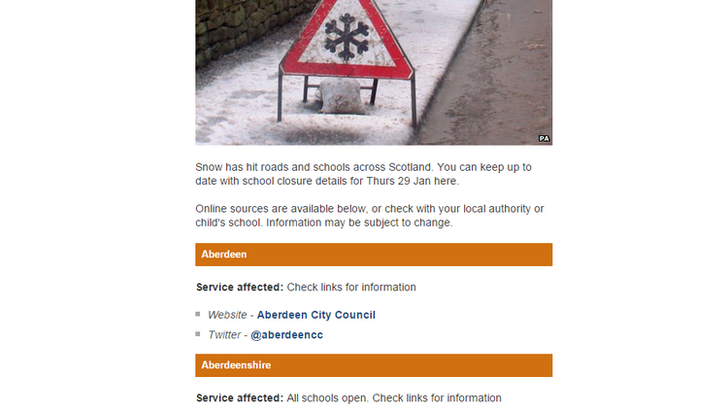 BBC website list of school closures