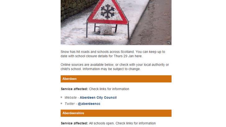 BBC website list of school closures