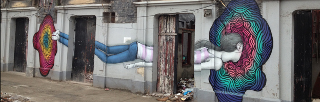 Image of a girl on a Shanghai wall Elsewhere in Shanghai, similar images have been appearing...