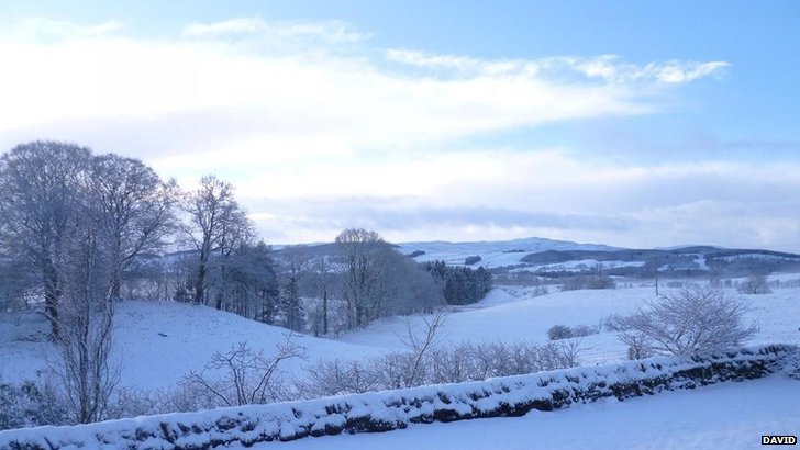 Snow covering Keir Hills