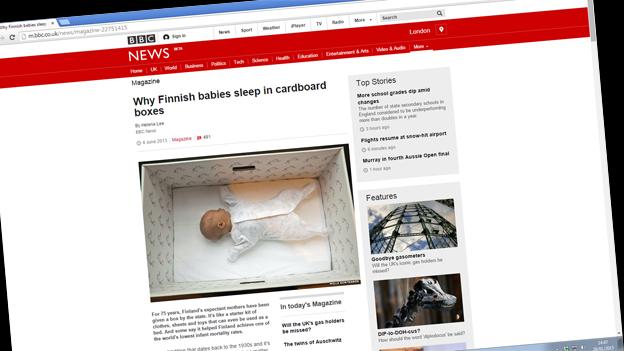 Screen grab of BBC webpage