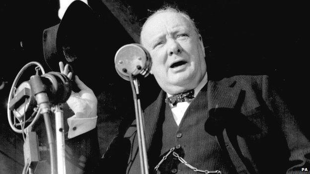 Winston Churchill giving a speech in 1945