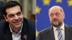 Alexis Tsipras (left) and Martin Schulz