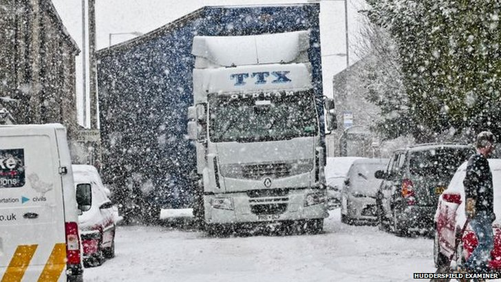 Lorry in snowstorm