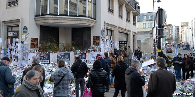 People lay tributes outside the Charlie Hebdo offices