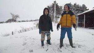 Dylan and Fergus in the snow