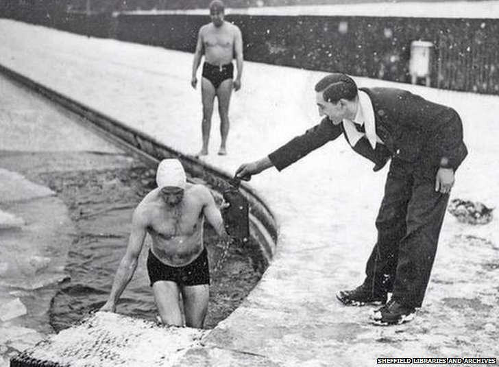 Swimmer at Millhouses swimming pool in Sheffield
