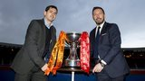 Dundee United manager Jackie McNamara and Aberdeen manager Derek McInnes with the Scottish League Cup