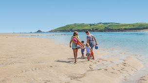 Family working along a beach
