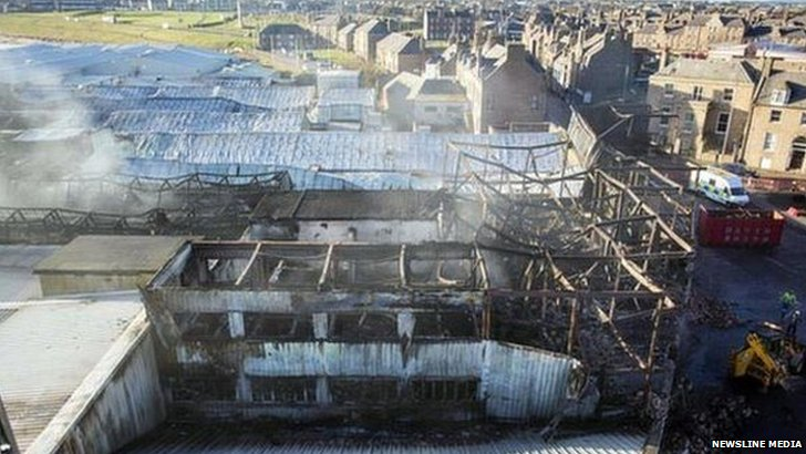 Burned fish factory