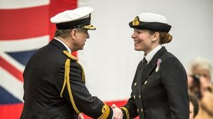 Lieutenant Danielle Welch receives her Wings from The Duke of York