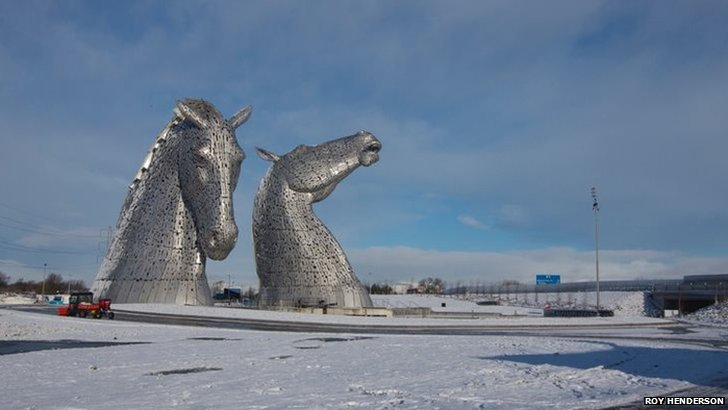 Kelpies in snow
