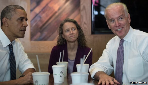 President Obama and Joe Biden in a Shake Shack