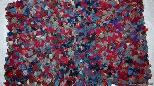 A handmade rag rug
