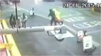 The lollipop man being attacked