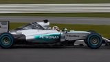 Lewis Hamilton driving new Mercedes