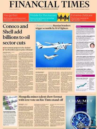 Tomorrow's FT front page