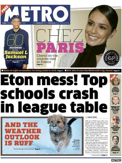 Tomorrow's Metro front page