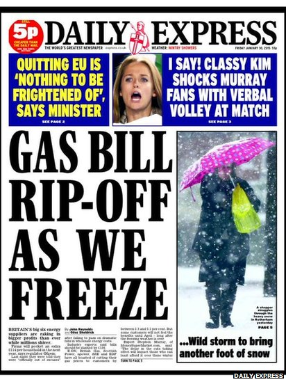 Daily Express front page tomorrow
