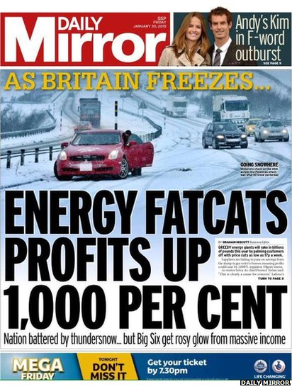 Tomorrow's Mirror front page