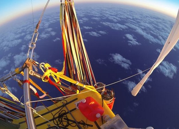 Two Eagles balloon over sea near Japan. 26 Jan 2015